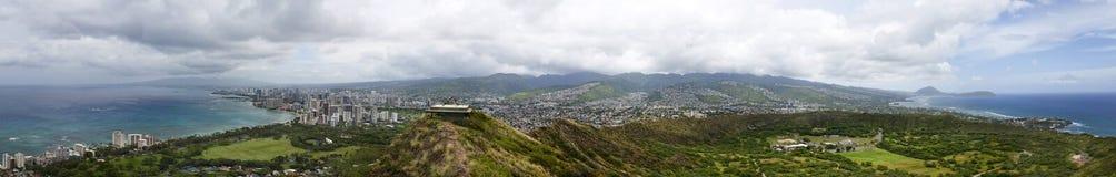 Honolulu in cima al cratere della testa del diamante fotografie stock libere da diritti