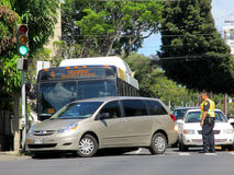 Honolulu City Bus has accident with Mini Van Stock Photography