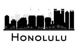 Honolulu City skyline black and white silhouette. Stock Images