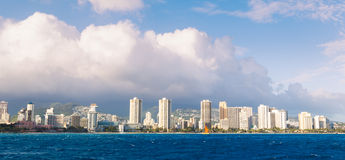 Honolulu City Skyline from Water Stock Photo