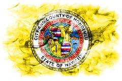 Honolulu city smoke flag, Hawaii State, United States Of America vector illustration