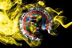 Honolulu city smoke flag, Hawaii State, United States Of America.  stock illustration