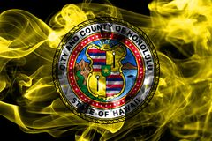 Honolulu city smoke flag, Hawaii State, United States Of America.  Royalty Free Stock Photo