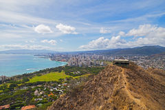 Honolulu cityscape in Hawaii, USA. A view on the city from the mountain top Stock Photos