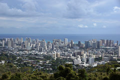 Honolulu cityscape, roads, buildings, skyscrapers, cranes, parks Stock Images
