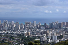 Honolulu cityscape, roads, buildings, skyscrapers, cranes, parks Royalty Free Stock Photos