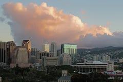 Honolulu de stad in Royalty-vrije Stock Foto's