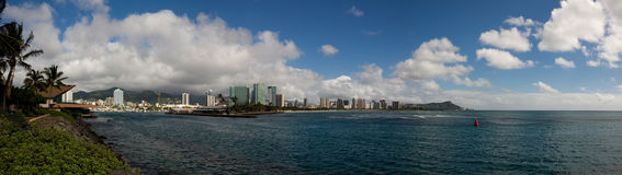 Honolulu and Diamond Head. A panoramic view along the Honolulu coastline including Waikiki and Diamond Head on the Hawaiian Island of Oahu Royalty Free Stock Photography