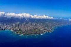 Honolulu and Diamond Head Aerial View Royalty Free Stock Photography