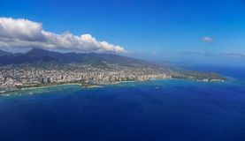 Honolulu and Diamond Head Aerial View Royalty Free Stock Photos