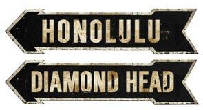 Honolulu Diamond Head Hawaii Grunge Vintage Metal Rustic Old Antique stock photos