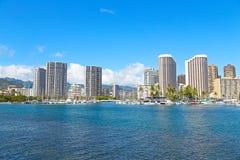 Honolulu en una madrugada, Hawaii foto de archivo libre de regalías