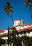 Honolulu Hale seat of Government in state. Spanish style architecture of Honolulu Hale or town hall in center of city of Honolulu, Oahu, Hawaii Royalty Free Stock Photography