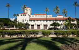 Honolulu Hale seat of Government in state. Spanish style architecture of Honolulu Hale or town hall in center of city of Honolulu, Oahu, Hawaii Royalty Free Stock Images