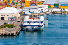 Honolulu Harbor. The main seaport not only for Honolulu, but the State of Hawaii. It is the hub of all maritime activity in Hawaii Royalty Free Stock Photos