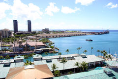 Honolulu Harbor One. Elevated view of Honolulu Harbor Royalty Free Stock Images