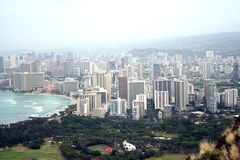 Honolulu, Hawaii. Can be seen from a bird's-eye view on a voggy day Stock Photography