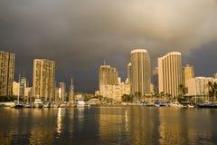 Honolulu - Hawaii. Downtown Honolulu Skyline with boats and skyscrapers fronting Honolulu Harbor royalty free stock photos