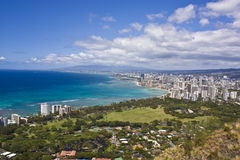 Honolulu, Hawaii. View of Waikiki Honolulu Hawaii from the top of Diamond Head stock photo