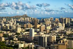 Honolulu Hawaii. Beautiful Honolulu, Hawaii as seen from National Memorial Cemetery of the Pacific stock image