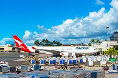 HONOLULU, HAWAII - FEBRUARY 16, 2018: View of the plane at the airport. Copy space for text stock photos