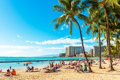 HONOLULU, HAWAII - FEBRUARY 16, 2018: View of the sandy city beach. Copy space for text stock images