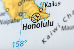 Honolulu, Hawaii on map. Closeup of Honolulu, Hawaii on a political map of the United States Royalty Free Stock Photos