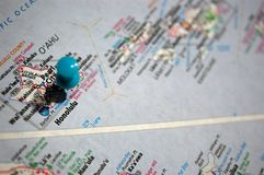 Honolulu, Hawaii. A map of Honolulu, Hawaii marked with a push pin stock photos