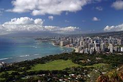 Honolulu, Hawaii Skyline. A scenic view from atop Diamond Head Crater of the Honolulu, Hawaii skyline stock photo