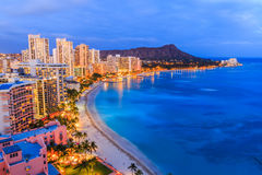 Honolulu, Hawaii. Skyline of Honolulu, Diamond Head volcano royalty free stock photography