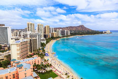 Honolulu, Hawaii. Skyline of Honolulu, Diamond Head volcano including the hotels and buildings on Waikiki Beach stock photo