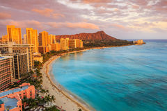 Honolulu, Hawaii. Skyline of Honolulu, Diamond Head & Waikiki Beach stock images