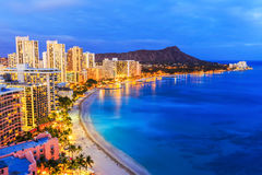 Honolulu, Hawaii. Skyline of Honolulu, Diamond Head & Waikiki Beach stock photo