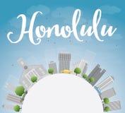 Honolulu Hawaii skyline with grey buildings, blue sky and copy s Stock Photos