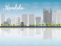Honolulu Hawaii skyline with grey buildings and blue sky Stock Photography