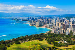 Honolulu, Hawaii. Skyline of Honolulu, Hawaii and the surrounding area including the hotels and buildings on Waikiki Beach stock images