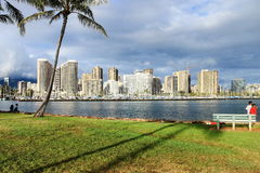 Honolulu, Hawaii, USA - May 30, 2016: View from Ala Moana Beach Park. Looking towards Ala Wai Boat Harbor Royalty Free Stock Photography