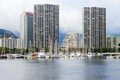 Honolulu, Hawaii, USA - May 30, 2016: Yachts docked at Ala Wai Boat Harbor royalty free stock photos