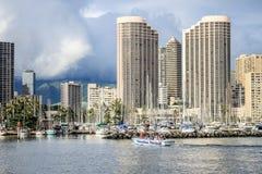 Honolulu, Hawaii, USA - May 30, 2016: Yachts docked at Ala Wai Boat Harbor royalty free stock photo