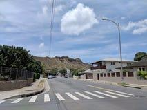 Road of Campbell Avenue leading towards Diamond Head stock photography