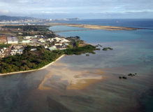Honolulu lotnisko międzynarodowe i rafa koralowa pas startowy widzieć od t Fotografia Stock