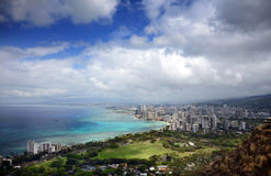 Honolulu Lulu, a Paradise of Sun and Surf, Oahu, Hawaii. The city of Honolulu in Hawaii lines the azure and turquoise waters of the Pacific in a panorama of Stock Image