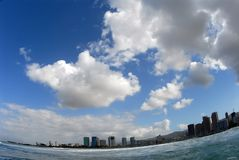 Honolulu from the ocean stock photo
