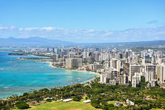 Honolulu och Waikiki strand på Oahu Hawaii Royaltyfri Fotografi