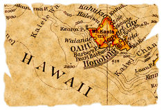 Honolulu old map. Honolulu, Hawaii on an old torn map from 1949, isolated. Part of the old map series Stock Photo