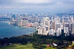 Honolulu's Waikiki Beach district Stock Photos