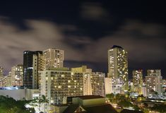 Honolulu skyline. At night in Hawaii Stock Images