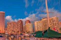 Free Honolulu Skyline At Sunset Stock Photos - 77703763