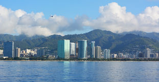 Honolulu skyline with blue sky. And clouds, Hawaii Royalty Free Stock Images