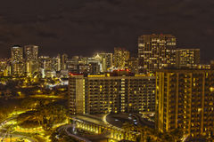 Honolulu skyline night HDR. High dynamic range photo of the Downtown Honolulu Skyline stock photo